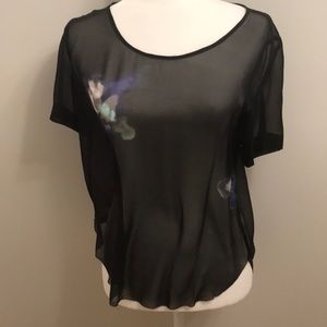 Wilfred from Aritzia silk sheer printed blouse